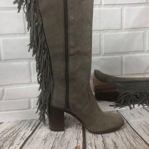 Gianni Bini Shoes - GIANNI BINI Fringe gray leather boots block heel